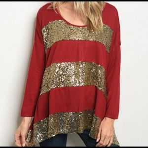 Tops - Red sequined tunic